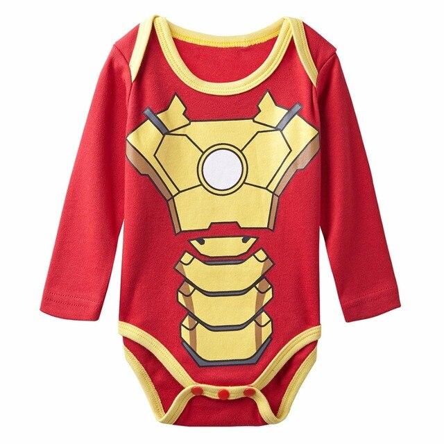 f23f80d9aa Meninos Homem De Ferro Traje Engraçado do bebê Recém-nascidos Bodysuit  Infantil Shower Playsuits