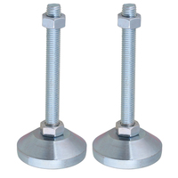 60mm Dia M12x100mm Thread Carbon Steel Fixed Adjustable Feet for Machine Furniture Feet Pad Max Load 2Ton Pack of 2
