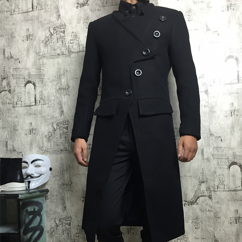 Hot 2018 Winter Coat Men Hairstylist Slim Wool Blend Coats Oversize Long Red Trench Coat Outwear Wool Coat men clothes S 4XL