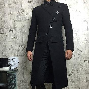 New Winter Windbreaker jacket Men Hairstylist Slim Wool Blend Coats Oversize Long Red Wool Trench Coat Outwear men clothes S-4XL