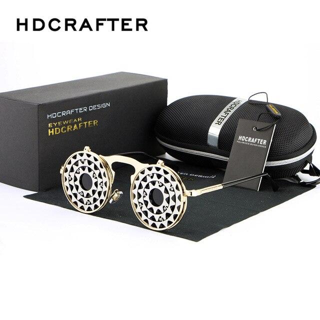 HDCRAFTER Steam Punk Metal Men Women Sunglasses Retro Flip Sunglasses Retro Trend Street Shooting Sunglasses oculos 882-3