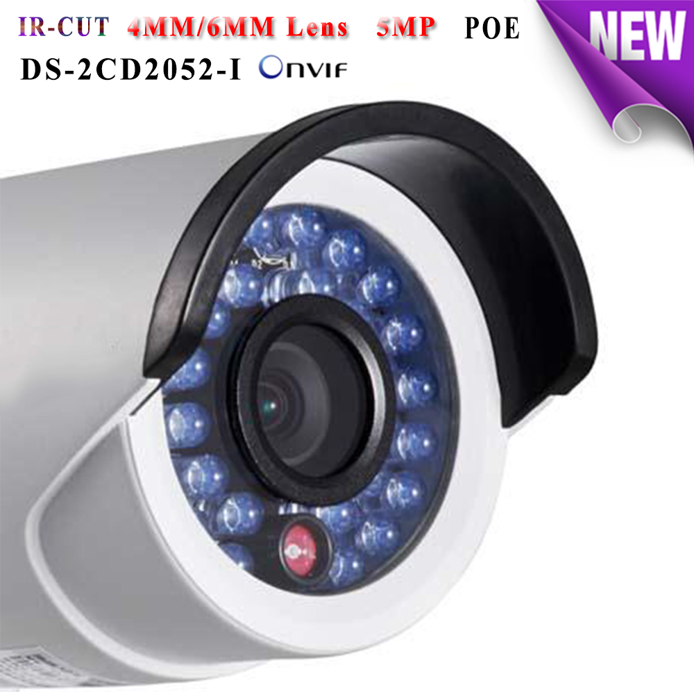 DS-2CD2052-I hikvision ip camera poe 5mp Full HD 1080P ip cameras outdoor waterproof IP66 security Video Surveilance camera mini hikvision 4mp ip camera ds 2cd3345 i 1080p full hd poe onvif ip camera similar as ds 2cd2432wd i ds 2cd2345 i