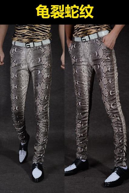 Non-mainstream Slim printing men's pu leather pants pants tide male personality boa Leopard nightclub costumes 117