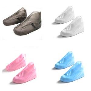 Image 1 - Cubierta zapatos a prueba de agua reutilizable cubierta para zapatos contra la lluvia TPU antideslizante Botas de lluvia hombres mujeres zapatos cubierta de lluvia