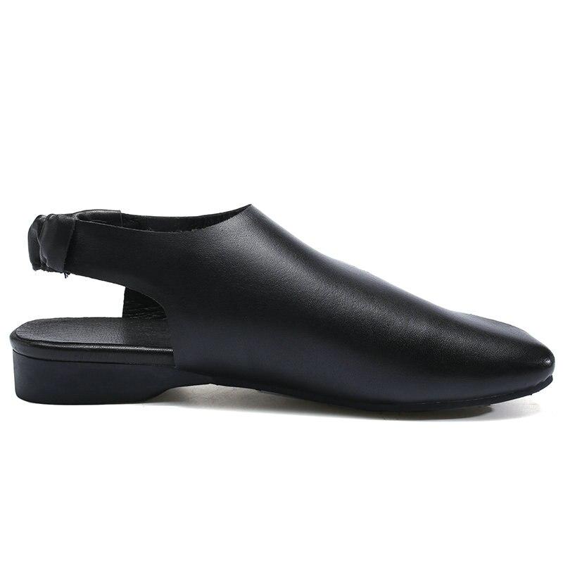 Poissons De brown 2019 Décontracté Plates Femelle pink Black Cuir Femme En Confortable D'été Sandales Main Chaussures Femmes Bouche Véritable 8xPw8TO