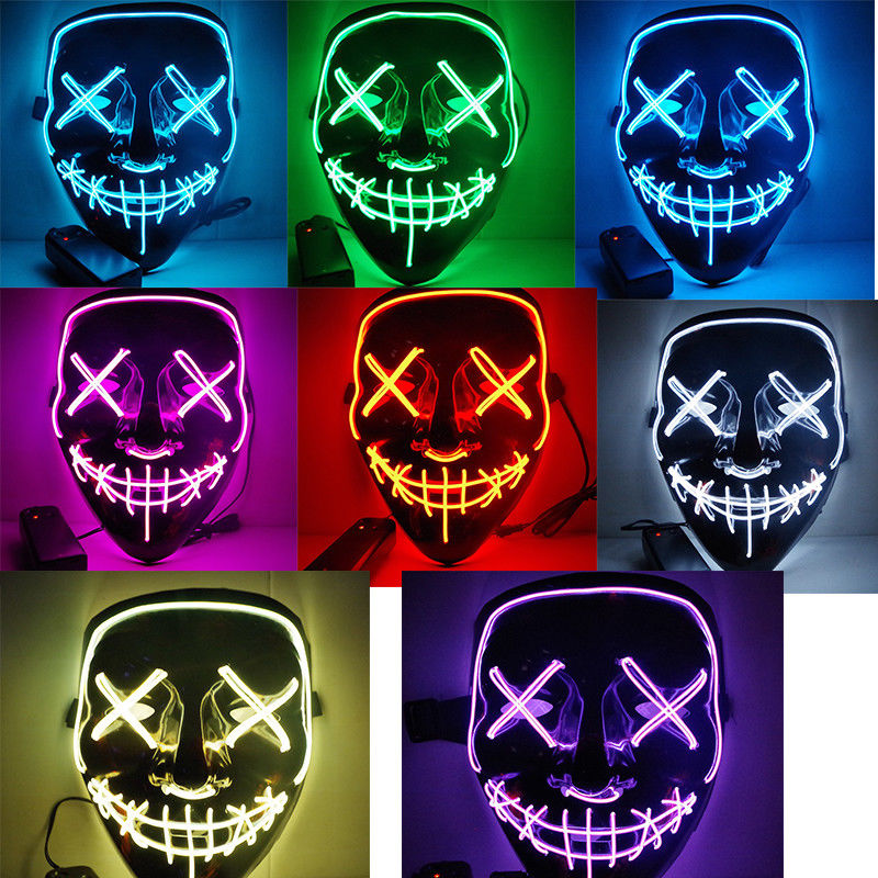 Halloween Mask LED Light Up Funny Masks The Purge Election Year Great Festival Cosplay Costume Supplies