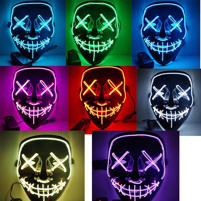 Maschera di Halloween HA CONDOTTO LA Luce Up Divertente Maschere Il Spurgo Elezioni Anno Grande Festival Cosplay Costume Forniture Maschere di Carnevale Glow In Dark