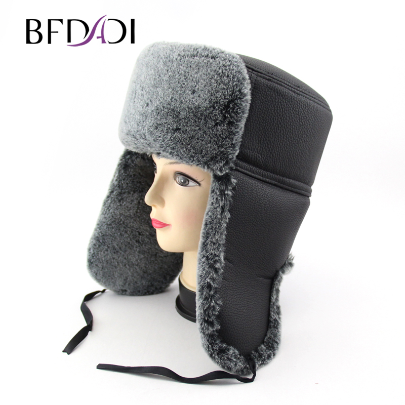BFDADI Winter Hats Bomber-Cap Russian-Hat Ear-Flaps Faux-Fur Mens with Warm Feng Lei