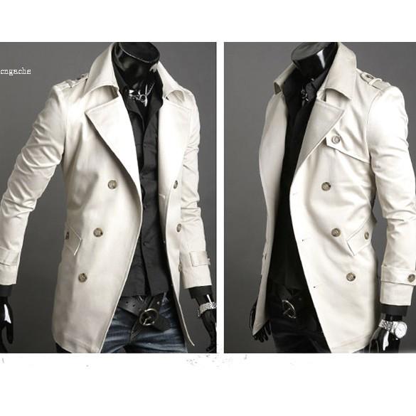 2016 Nueva Moda de corea hombres chaqueta de abrigo Clásico Delgado cruzado abrigo de lana chaqueta rompevientos 4 tamaños 2 colores