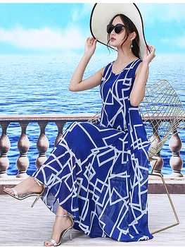 Beach Sleeveless Elegant Chiffon Slim Loose Women's Clothing Dress