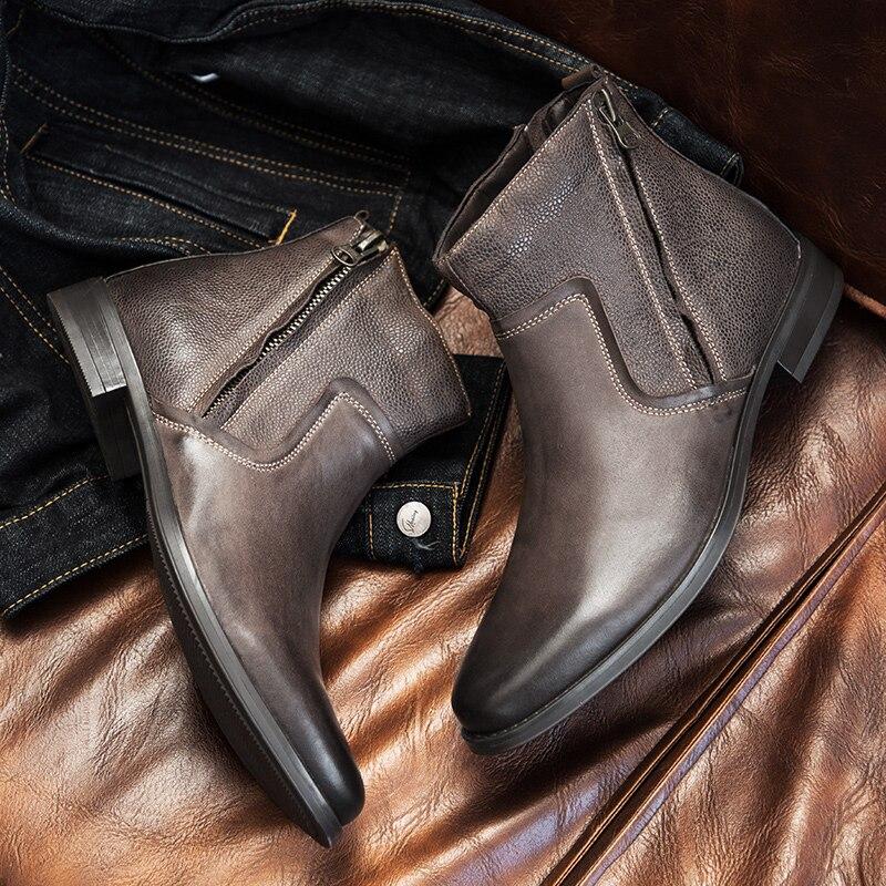 Yomior prawdziwej skóry szpiczasty nosek męskie buty jesień brytyjski formalne sukienka kostki buty luksusowe projektant czarne buty Chelsea w Buty sztyblety od Buty na  Grupa 3
