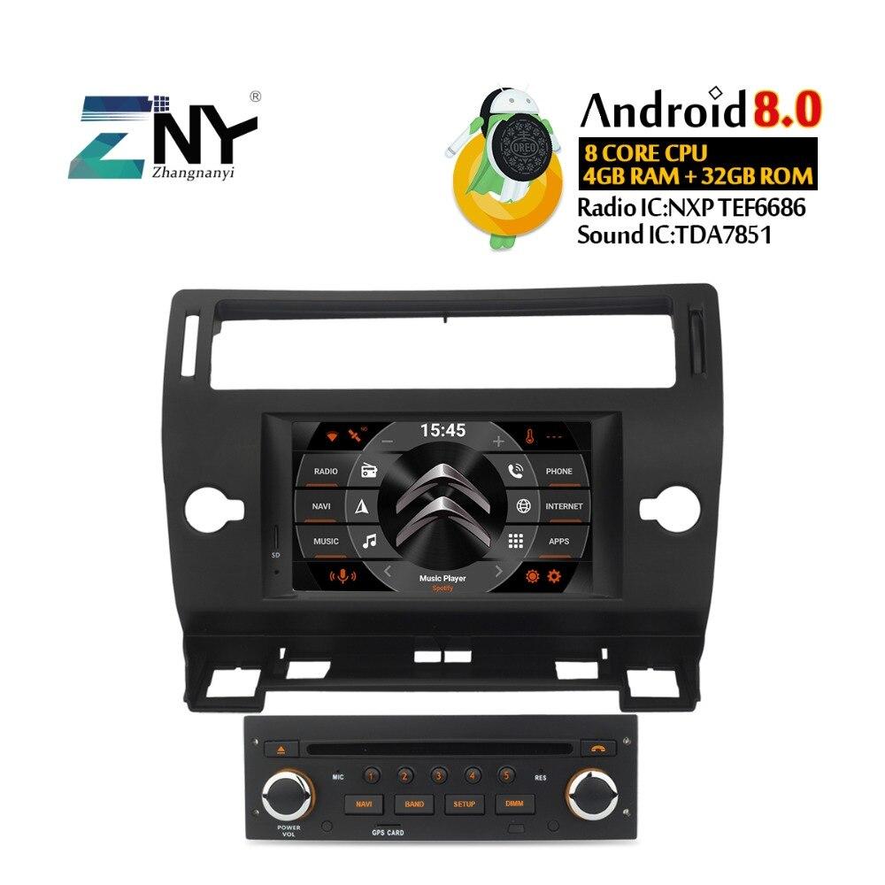 4 gb 7 IPS Android 8.0 Autoradio GPS Pour Citroen C4 C-triomphe C-quatre 2004 2005 2006 2007 2008 2009 DVD Radio WiFi Navigation