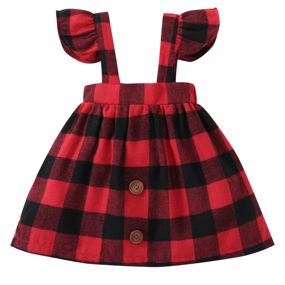 Baby Dresses 1 Year Old Girl Birthday Dresses Buffalo Check Red Plaid Party  Costume Children's Clothes A015 0-3T Baby Clothing