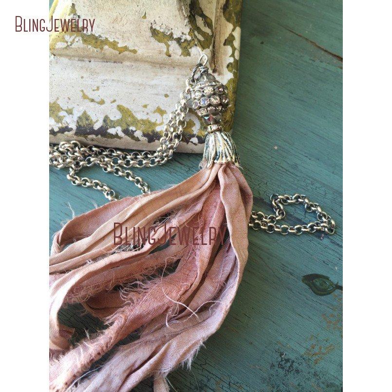Silvery Silk Earrings  Witchy Boho Jewelry  Bohemian Hippie Jewellery  Earthy /& Ethical Sari Silk Tassel Earrings  Gold Pale Blue