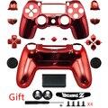 Rojo Botón de Reparación de Piezas de ABS Cromado Vivienda Completa Caso de Shell Kit + Regalos Para PS4 DUALSHOCK 4 Controlador Inalámbrico