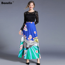 цена на Banulin Elegant Floral Printed Lace Patchwork Long Dress Women O-neck Long Sleeve A-line Maxi Dress Designer Runway Dress B9005