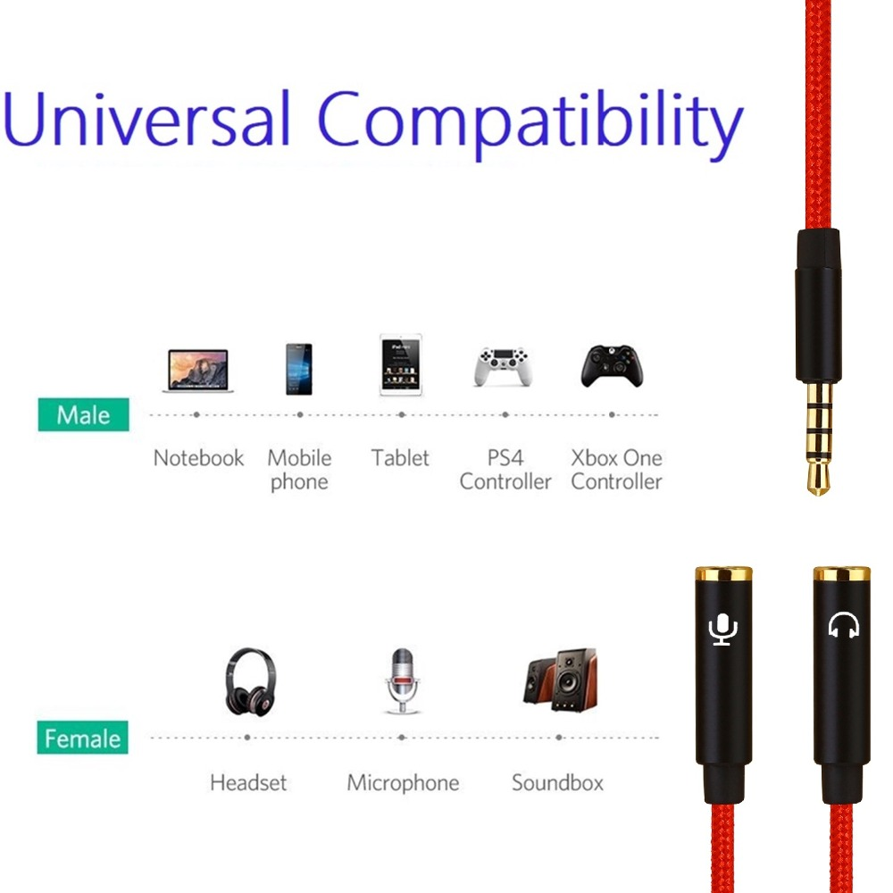 Headphone Audio Mic Splitter Cable 3 5mm Male to Female Mic Y Splitter Earphone Headphone Extension Cable for Phone Microphone