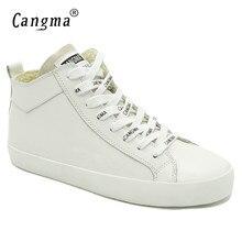 CANGMA Italien Designer frau Casual Schuhe Weiße Turnschuhe Für Mädchen Echte Leder Schuhe Mid Frauen Schuhe Weibliche Trainer