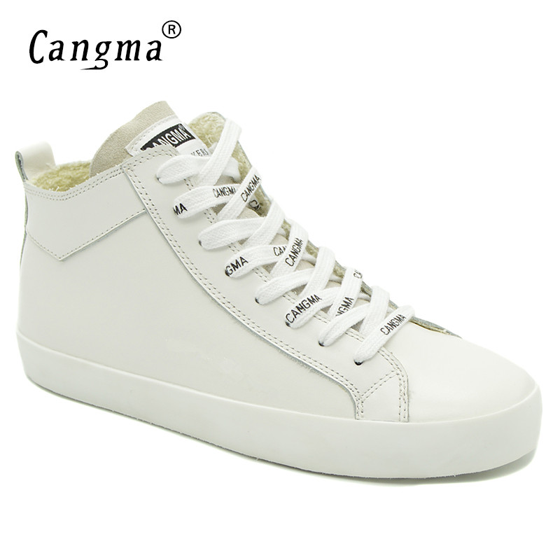 CANGMA Italy Designer Woman's Casual Shoes White Sneakers For Girls Genuine Leather Shoes Mid Women Footwear Female Trainers cangma original black footwear woman s casual shoes mid genuine leather sneakers women trainers female adult handmade shoes
