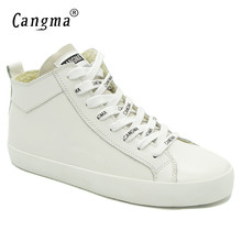 CANGMA Italy Designer Womans Casual Shoes White Sneakers For Girls Genuine Leather Shoes Mid Women Footwear Female Trainers