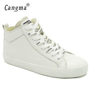 Image 1 - Cangma 이탈리아 디자이너 여성 캐주얼 신발 여성용 화이트 스니커즈 정품 가죽 신발 mid women footwear 여성 트레이너