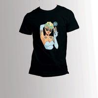 T Camisas de algodão Dos Homens Clássicos O-Neck Sexy Anime Girl Tato de Manga Curta Moda 2018 Camisetas