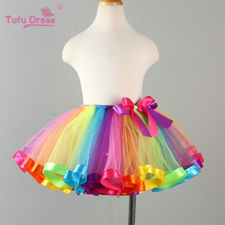 Rainbow Skirts Girl Clothing Summer Color Girls Clothes
