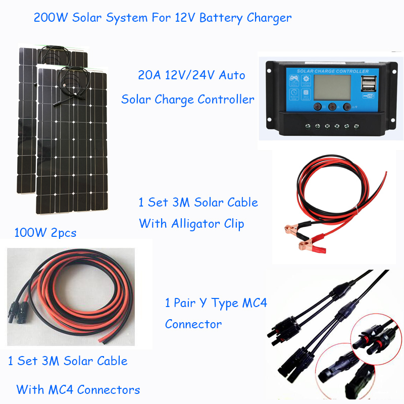 200w completely solar system 2pcs flexible solar panel 100w 1 set solar controller and solar cable DIY kit for 12v battery-in Solar Energy Systems from Consumer Electronics    1