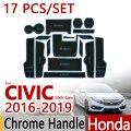 Para honda civic 2016-2018 anti-slip de borracha almofada copo porta Mat 17 pcs 2017 FK7 FC1 FC2 Tipo R Acessórios Do Carro Styling adesivo