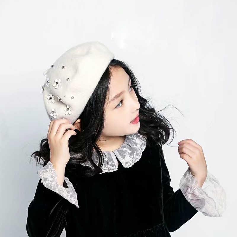 Шерстяной берет детские зимние шапки для девочек, плоская кепка, цветы для аппликации, шапки, Детские береты для девочек, шапка, детский берет головной убор в французском стиле