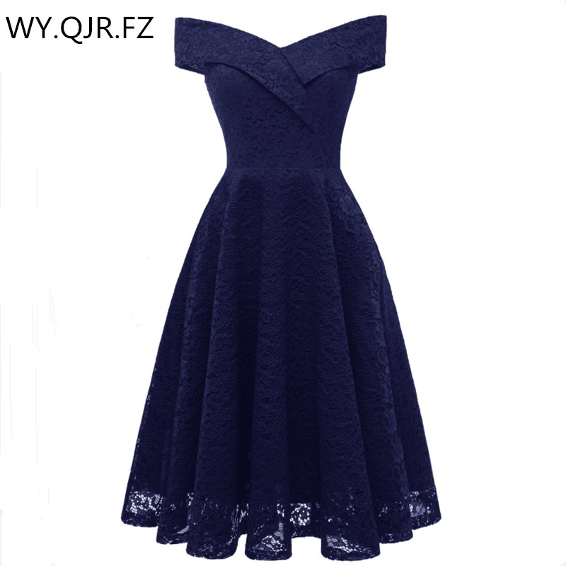 PTH-CD1610#Boat Neck Dark Blue Short Lace Bridesmaid Dresses Wedding Party Dress Gown Prom Wholesale Fashio Bride Toast Clothing