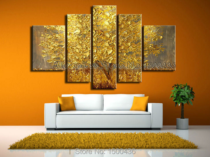 hand painted modern abstract knife oil painting on canvas art 5 piece autumn tree picture. Black Bedroom Furniture Sets. Home Design Ideas