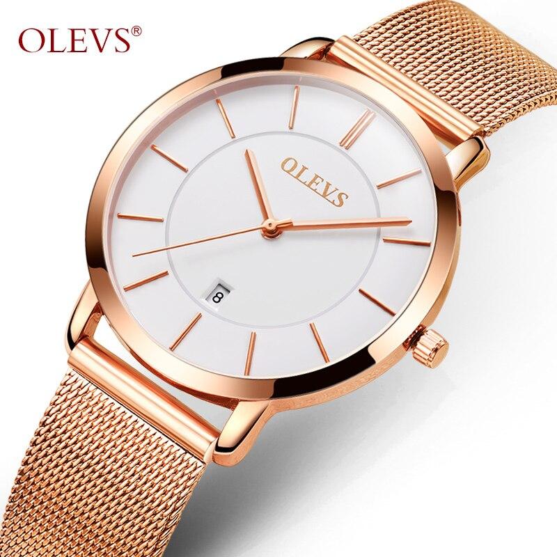 OLEVS Véritable De Luxe Rose Or Véritable En Cuir Montre Femmes Haute qualité Japonais mouvement à quartz Dames montres bayan saat