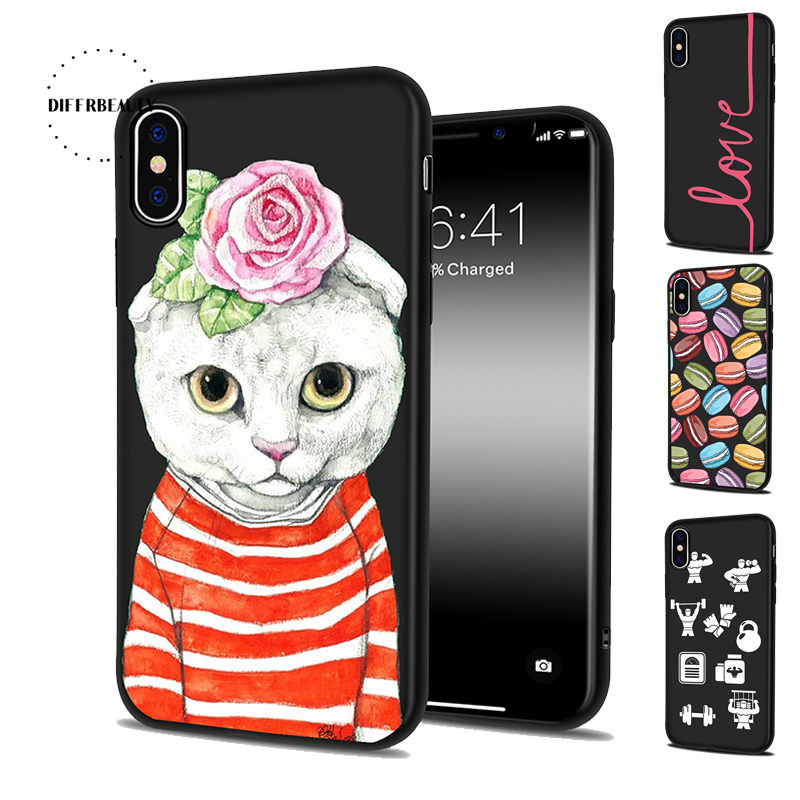DIFFRBEAUTY Animal Cat Sports Equipment Macarons Phone Case For iPhone X 6 6S PLUS 5 5S SE 7 7Plus 8 8Plus Silicone Phone Back