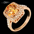 Big Crystal Framed Wedding Finger Ring For Womens Rose Gold Plated Fashion Brand High Quality Jewelry anel DWR057