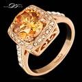 Emoldurado grande Cristal Casamento Anel de Dedo Para Mulheres Rosa Banhado A Ouro Marca de Moda de Alta Qualidade Jóias anel DWR057