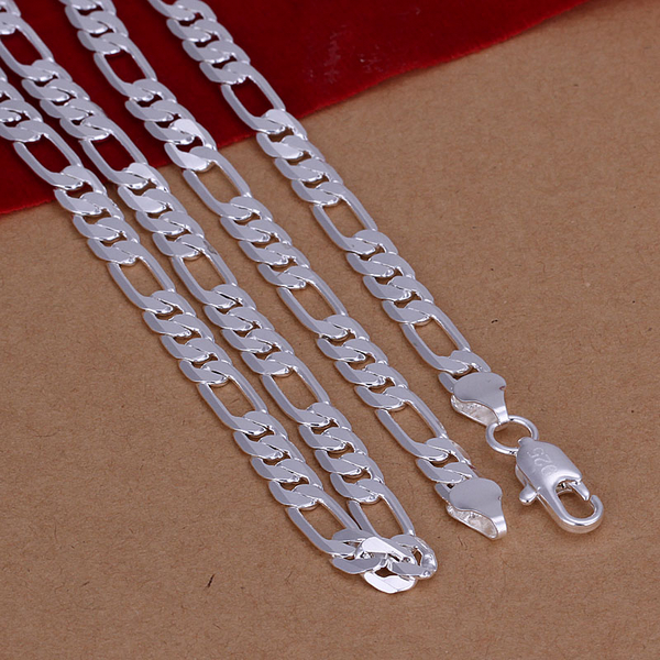 2018 New High quality 925 stamped silver plated 6mm Flat Figaro chains men's necklace Colar de Prata For male wholesale 20inch