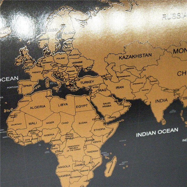Free Ship Personalized Adventure Travel World Maps Wall Decor Black - Black and gold world map