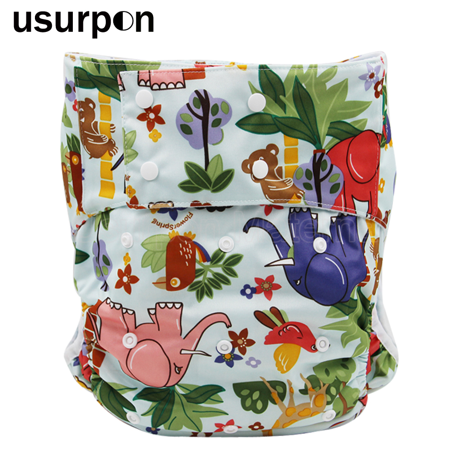 [usurpon] 3 Pcs Printed Adult Diaper For Old People With Absorbent Diaper Pad Reusable Printed ABDL Diaper Pants