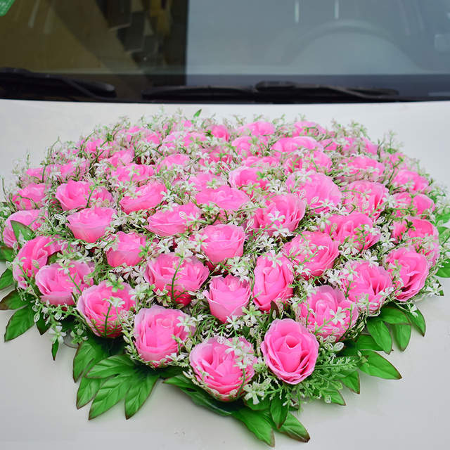 Placeholder Wedding Car Decorations For Artificial Flowers Silk Rose Party Events Supplies Home Birthday Christma Decoration Pink