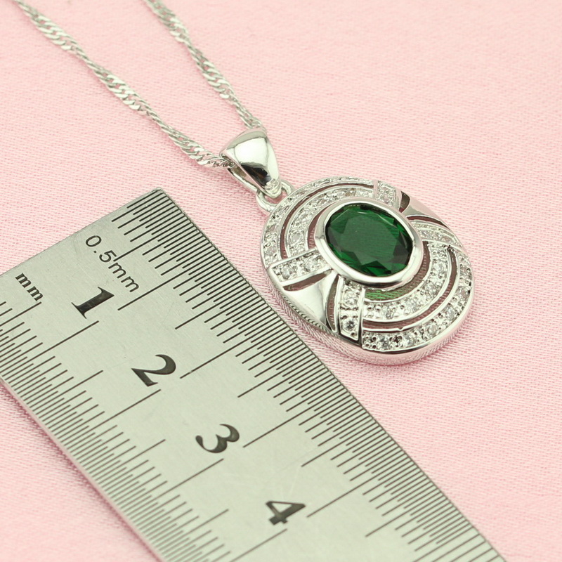 ASHLEY Classic Oval Green Cubic Zirconia Silver Color Jewelry Sets For Women Glittering Charm Necklace Earrings Free Gift Box