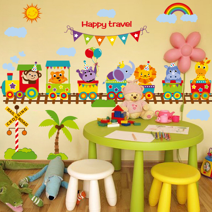Mural wall paper train happy travel sticker on the wall for Stickers decorativos