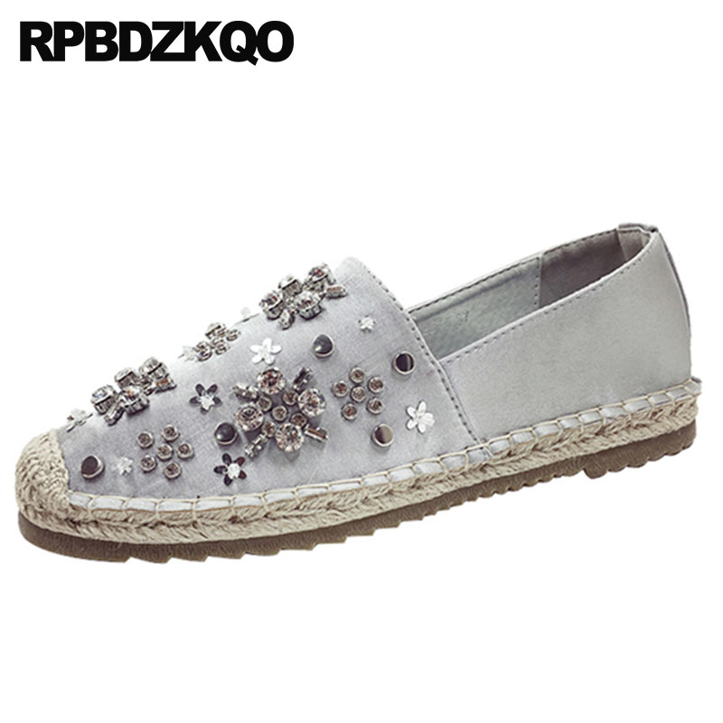 Diamond Crystal Italian Ladies Beautiful Flats Shoes Grey Espadrilles Rope Gray Silk Pink Women Rhinestone Fisherman Hemp Satin genshuo women flats shoes casual round toe loafers fisherman espadrilles lazy hemp rope weave shoes woman black pink black pink