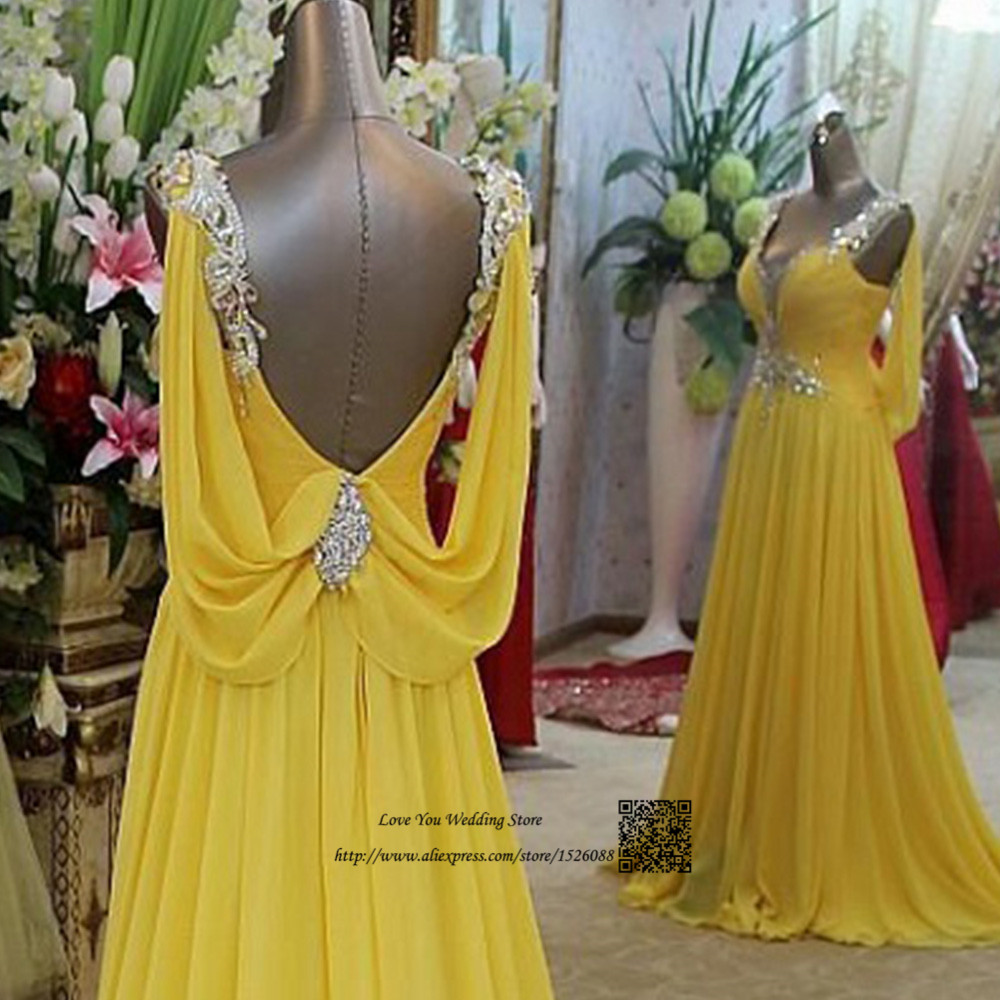Abendkleider Crystal 2016 Turquoise Yellow Long Evening Dresses ...