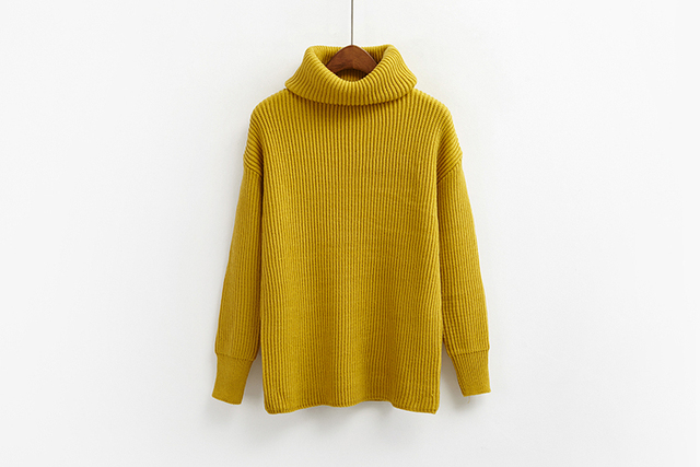 6ee58fff58192 Korean Simple Basic Winter Knitted Sweaters Women Fashion Turtleneck  Pullover Sweater Female Casual All-match Jumper 8 Colors