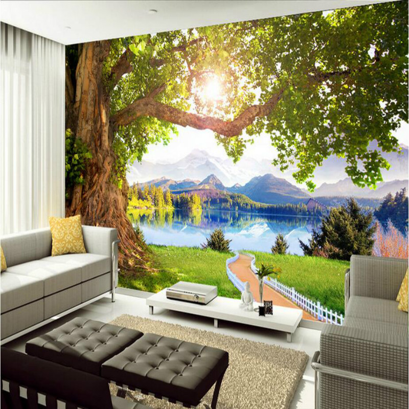 Home Improvement 3d Wall Paper Rolls Waterproof Silk Wallpaper for Walls 3d Murals Background Beautiful Scenery Landscape Trees custom home improvement 3d wall paper rolls photo wallpaper for walls 3d geometric background wall wallpaper murals