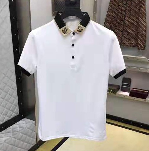 High New Striped 2019 Men collar Embroidered Bees Beee Fashion   Polo   Shirts Shirt Hip Hop Skateboard Cotton   Polos   Top Tee #K01