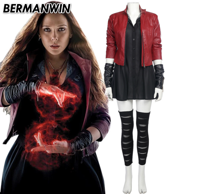 BERMANWIN High Quality Avengers Age of Ultron Wanda Maximoff Scarlet Witch Costume Adult women Halloween Cosplay Costume