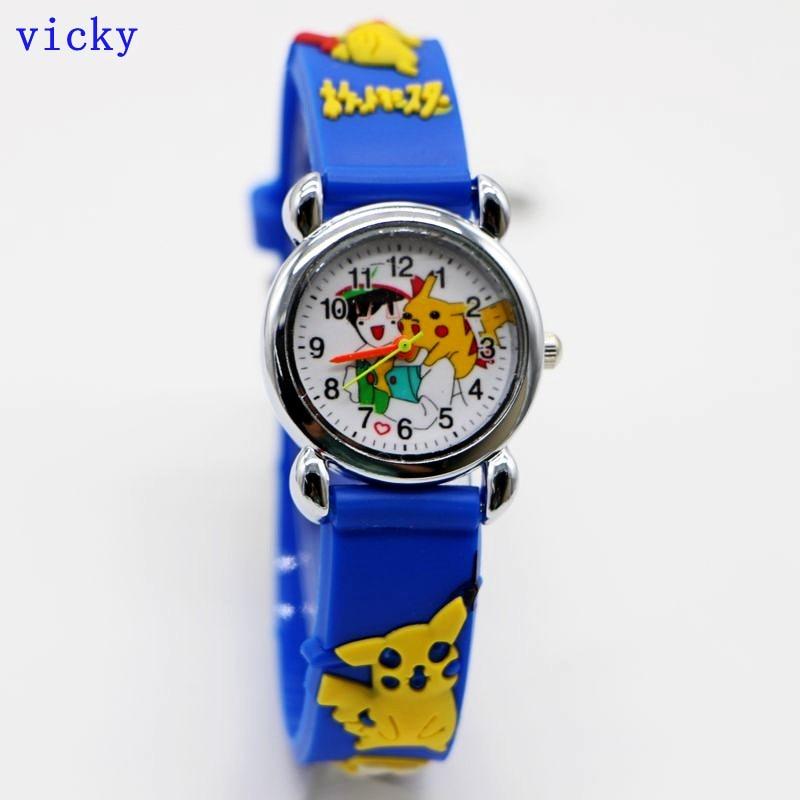 New Wholesale 3D Cartoon Fashion Pikachu Kids Watch Children Girls Boys Students Quartz Wristwatches Relojes Montres Kol Saati