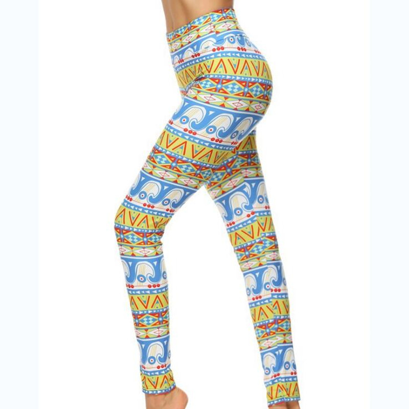 2017 Brands Women Fashion Legging Aztec Round Ombre Printing leggins Slim High Waist Leggings Woman Pants legging